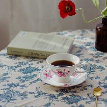 Coffee Cup Vintage Bone China Floral Black Tea Cup Set European Style Afternoon Tea Cup Rose Elegant Canecas Teaware EF50BD