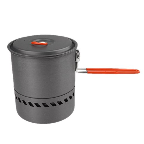 Outdoor Camping Cookware Backpacking Cooking Picnic Heat Exchanger Pot 1.5L