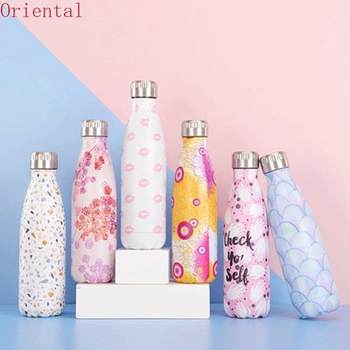 500ml Water Bottle Stainless Steel Vacuum Flask Shaker Sports Outdoor Portable Coke Bottle Thermos For Tea Insulated Cup Kids