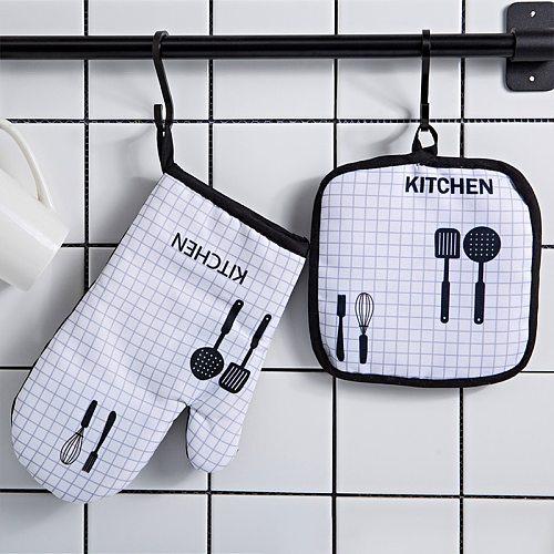 2pc/set  Microwave Baking BBQ Glove Cotton Cute Oven Mitts Heat Resistant Linen Potholders Non-slip Kitchen Cooking Tools Mitten