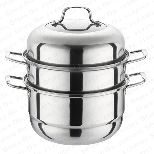 28cm Stainless Steel Three Layer Thick Steam Pots Soup Steamer Universal Cooking Boilers for Induction Cooker Gas Stove Pot
