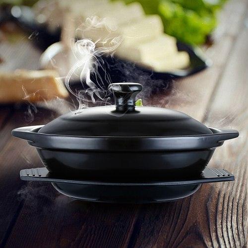 Black Enameled Claypot Rice Ceramic Casserole Cooking Pot Cantonese Pot Rice Cooking No Logo Cocotte Ceramique