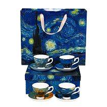 Van Gogh Painting Design Ceramic 4 Pcs Coffee Cup And Saucer & Tea Cup Sets Ceramic