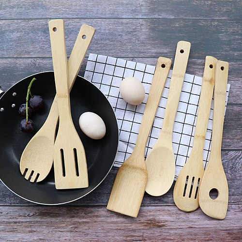 Kits Kitchen Utensil Wooden Handle Ware Cake Cooking Bamboo Spatula Beef Meat egg Cookware Shovel Wide Mixing Tools Kitchenware