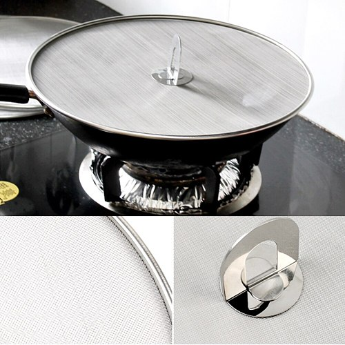 Oil Resist Stainless Steel Splatter Screen Pot Cover Protective Kitchen Accessories Pan Lid Mesh Practical Multifunctional