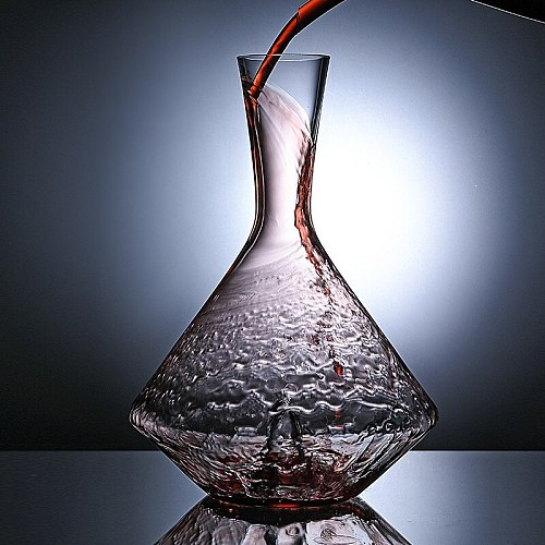 1L Wine Decanter Glass Lead Handmade Crystal Red Wine Brandy Champagne Glasses Pyramid Bottle Jug Pourer Aerator For Family Bar