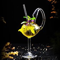 Swan Shape Cocktail Glass With Straw ,Lead-Free Crysta Wine Glasses Water Juice Cup