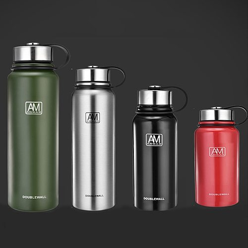 800ml/1500ml stainless steel vacuum flask large capacity outdoor sports water bottle 24-hour insulation portable Thermos bottle