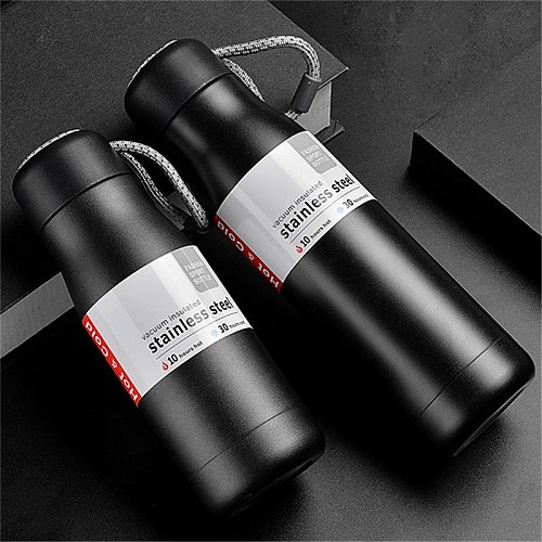 Portable Thermos with Rope Coffee Mug Stainless Steel Tumbler Vacuum Flask  Travel Sport Water Bottle Insulated Cup