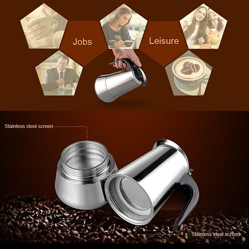 100ml/200ml/300mlStainless Steel Coffee Pot Moka Pot Intermittent Pot Coffee Pot Brewing Coffee Latte Tool Percolation Stove