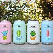 Cute Plant Pattern Straw Thermos Mug Stainless Steel Vacuum Flasks Thermal Bottle Kid Child Cans Cup Thermocup 300ml