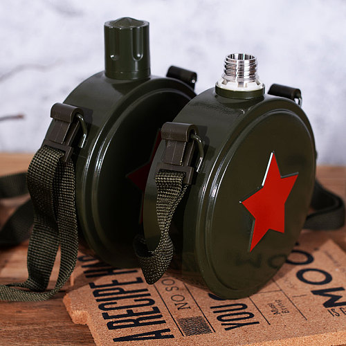 560/800ml Stainless steel 304 Hip Flask Camouflage military kettle sports outdoor Army Flagon Camping Bicycle My Water Bottle
