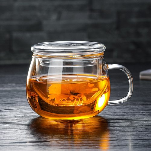 Office Heat-Resistant Glass Tea Coffee Mug with Lid and Infuser Transparent High Borosilicate Glass Filter Teacup Water Bottle