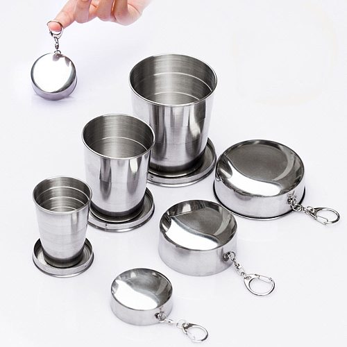 Cups Saucers Accessories Stainless Steel Portable Outdoor Travel Folding Collapsible Cup Telescopic New