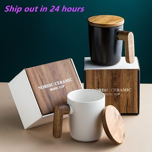Gift Package Wooden Handle with Cover coffee cup Lovers coffee Mugs Ceramic coffee Mug cup set wooden coffee cup