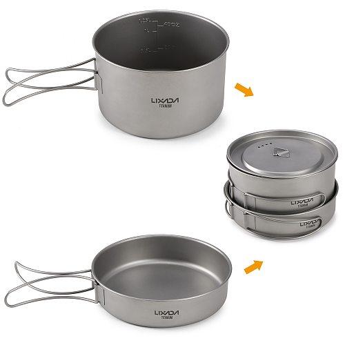Lixada 2pcs Camping Cookware Set Titanium Pot Pan Cooking Set with Foldable Handles Mesh Carry Camping Hiking Tableware