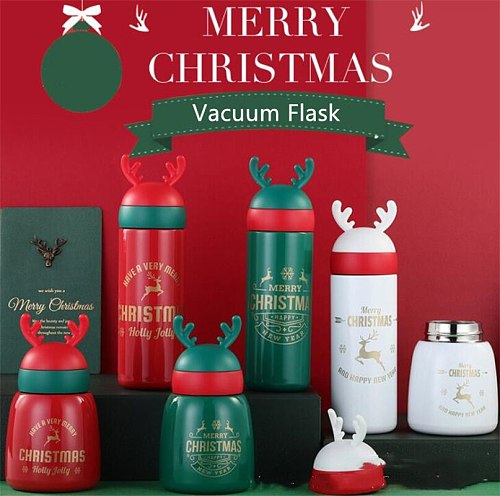 Christmas Elk Stainless Steel Vacuum Flasks Male Female Couple Student Portable Thermos Bottle Keep Mug Festival Gift Bottle
