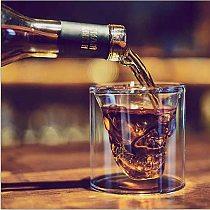 Transparent Skull Head Cup Double Layer Coffee Whiskey Vodka Skull Beer Mug Wine Travel Cute Christmas Mugs Tumbler Shot Glass