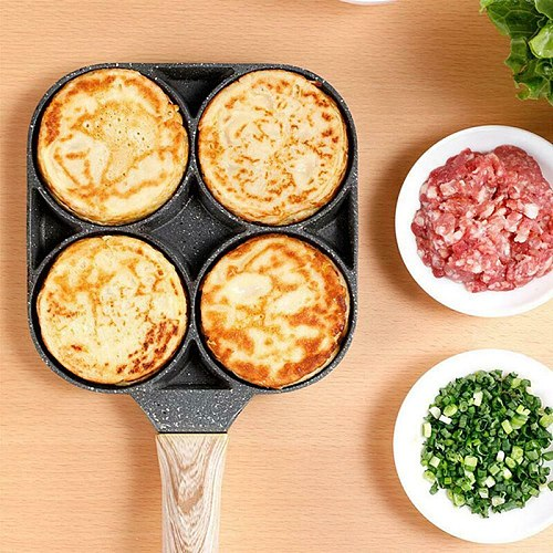 4 Hole Omelet Pan For Egg HamBurger Pancake Maker Wooden Handle Frying Pan Kitchen Accessories