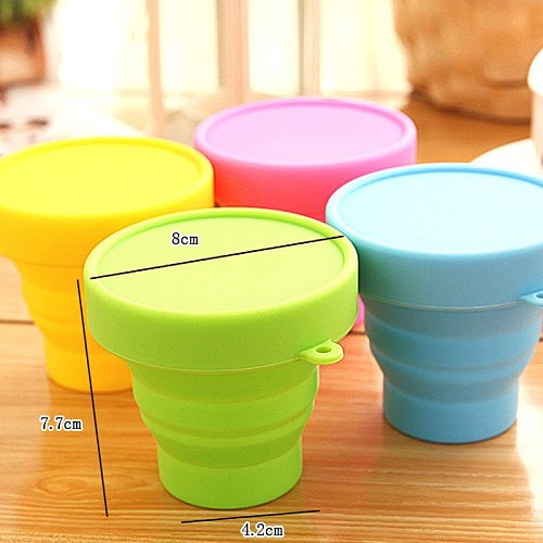 Protable Solid Color Water Cups Folding Silicone Gargle Cup For Outdoor Travel Articles and Equipment for Water,CoffeeTea Tools