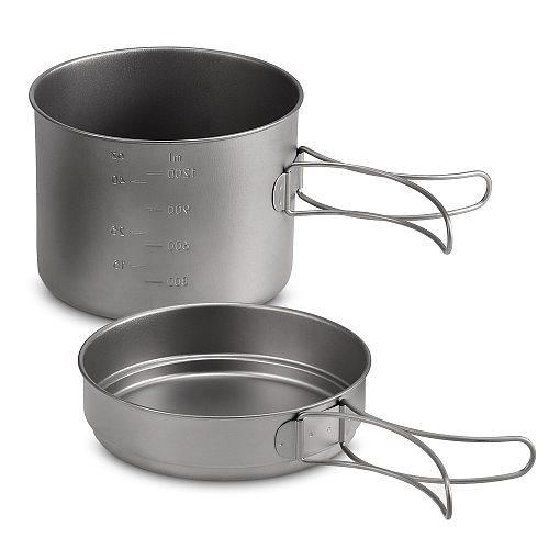 Titanium Pot Pan Set Camping Frying Pan Outdoor Bowl Lightweight Camping Cookware Set Portable Cooking Tool with Folding Handle