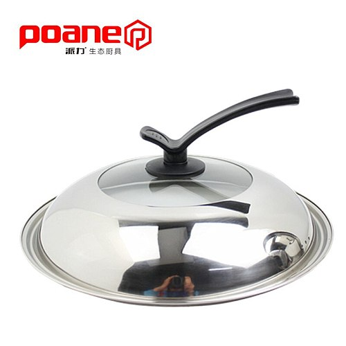 Heightening thickening stainless steel combination frying pan cover soup pot visible toughened glass stand lid high cover