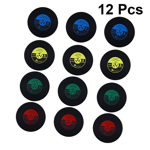 12PCS Retro Record Coasters Cup PVC Soft Rubber Vinyl Saucer Cup Mat Round Silicone Vintage Gramophone Record Cup Cushion