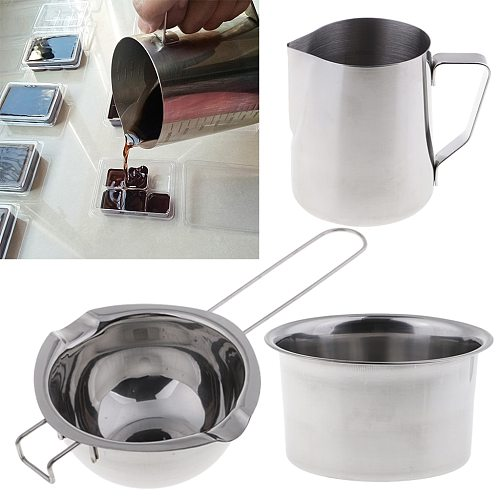 3 Pieces/set Stainless Steel Wax Melting Pot Double Boiler Candle Wax Melting Pot Pitcher DIY for Candle Making Party Candles
