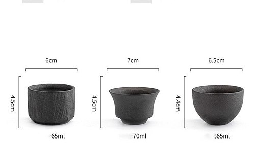 Antique Ceramic Tea Cup Single Person Cup Black Vintage Teacup Retro Small Tea Master Cup