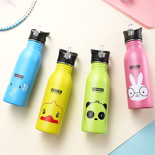 LOGO Custom Children's Sports Water Bottles Portable Outdoor Cycling Mountaineering Camping Straw Water Bottles Birthday GIft