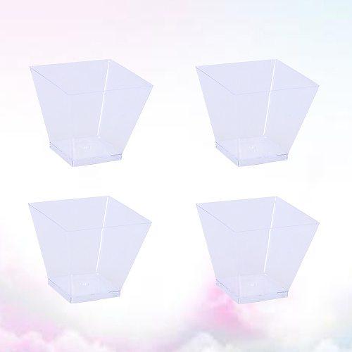 50PCS 60ml Disposable Portion Cups Clear Portion Transparent Trapezoidal Container for Jelly Yogurt Mousses Dessert