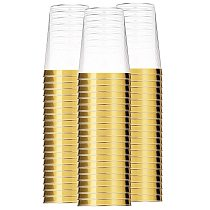 100x Gold Plastic Cups 10 Oz Clear Plastic Cups Tumblers Gold Rimmed Cups Fancy Disposable Wedding Cups Elegant Party Cups with