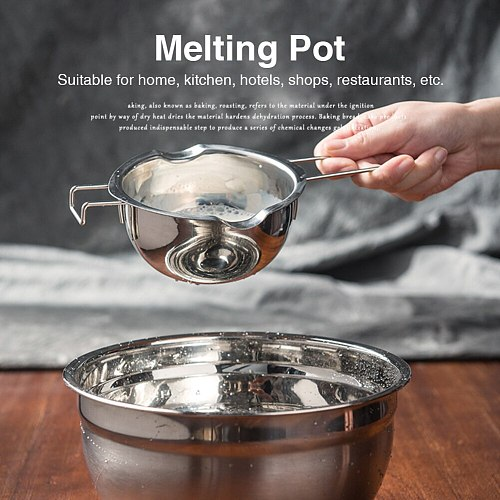 400ML Chocolate Candy Stainless Steel Restaurant Melting Pot Double Boiler Baking Tool Candle Making Portable Long Handle Pastry