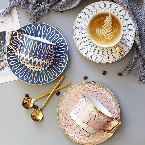 British Style Luxury Moroccan Coffee Cup and Saucer Set with Gold Handel Ceramic Cappuccino Afternoon Tea Cup 250ml