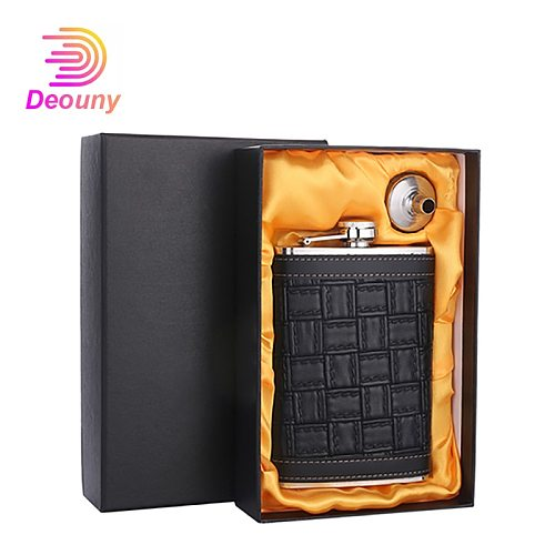 DEOUNY 9oz Leather Shell Hip Flask For Alcohol Whisky Stainless Steel whiskey Hip-Flask Portable Alkohol Bottle Gifts Drinkware