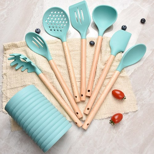 Silicone Kitchen Utensils Set Non-stick Cookware Wooden Long Handle Spatula Colander Baking Tool Pink Handle Cooking Accessories