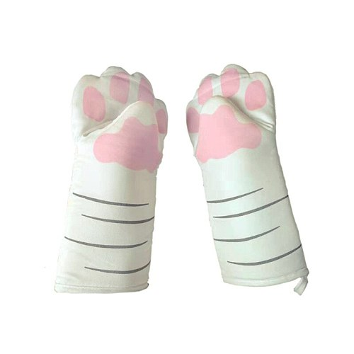 3D Cartoon Cat Paws Oven Mitts Long Cotton Baking Insulation Gloves Microwave Heat Resistant Non-slip Kitchen Gloves
