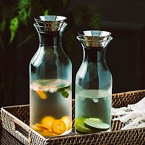 Nodic Glass Soda Water Bottle Stainless Steel Lid Juice Beverage Dispenser Flower Tea Jugs Teapot Drinkware Home Bar Supplier