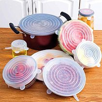 6pcs silicone caps Stretch Lids Universal Silicone Food Wrap Bowl Pot Lid Silicone Cover Pan Cooking Kitchen Accessories