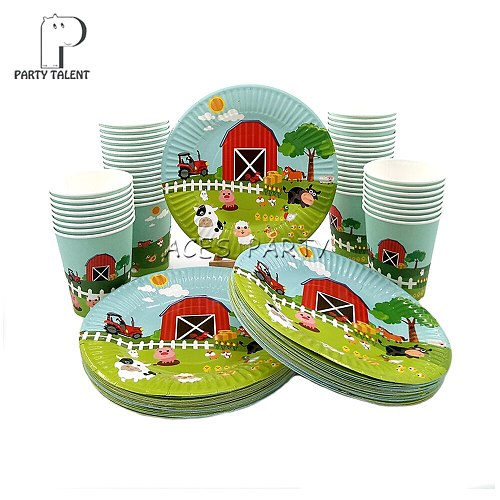 Party supplies 96pcs Farm Animals theme party kids birthday party tableware set, 48pcs plates dishes and 48pcs cups glasses