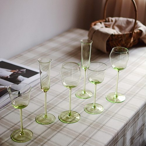 Art Collection Grade 70-280Ml Emerald Green Crystal Glass Red Wine Glass Fruit Green Champagne Whisky Vodka Shot Glass Goblet