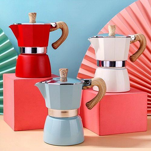 Multicolor 3/6cups Italian Moka Espresso Cafeteira Percolator Pot Express Moka Pot Stovetop Coffee Maker Aluminum High Quality