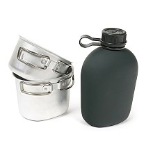 Portable 1L Aluminum Canteen Cup Set Outdoor Camping Cookware Mess Kit 캠핑용품 for Hiking Backpacking Picnic