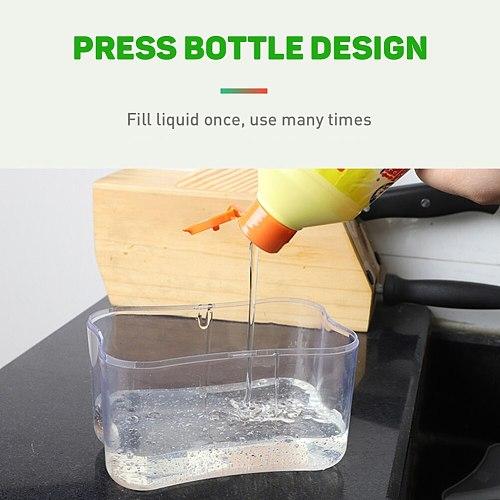 Clean 2-in-1 Soap Dispenser Dishwashing Liquid Dispenser Manual Press Liquid Soap Dispenser Kitchen Wash Soap Pump Sponge Caddy