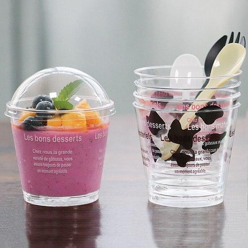 50pcs/set Disposable Sawdust Cup Cake Cup Round Mousse Cup with Lid Pudding Dessert Drink Milk Tea Tiramisu Cup Dessert Shop