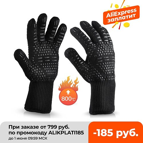 BBQ Gloves High Temperature Resistance Oven Mitts 500 800 Degrees Fireproof Barbecue Heat Insulation Microwave Oven Gloves