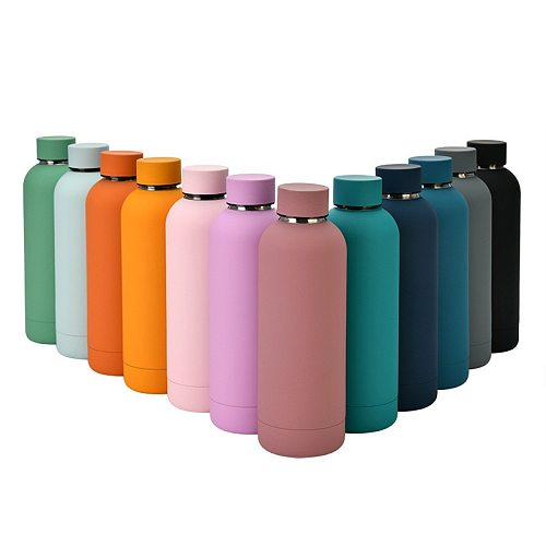 500ml Matte Stainless Steel Vacuum Insulated Hot Cold Water Bottle Double Walled Cola Shape Thermos Leak-Proof Sports Flask