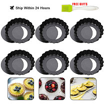 4In Mini Quiche Pans with Loose Base Non Stick Flan Tart Dishes, Steel Lifting Base Non-Stick Coating Baking Pan Set