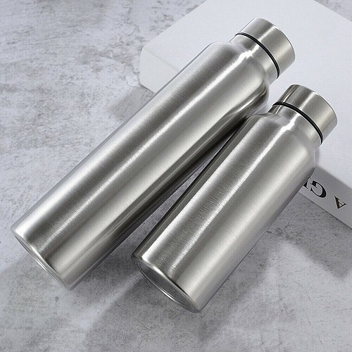 Stainless Steel Sports Water Bottle Thermos Mug 650/1000ml Leak_Proof Thermosmug Single Wall Vacuum Camping Gym Metal Flask