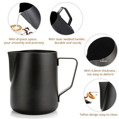 Non-stick Milk Frothing Pitcher Barista Craft Coating Stainless Steel Espresso Coffee Latte Cappuccino Cream Froth Jug Maker